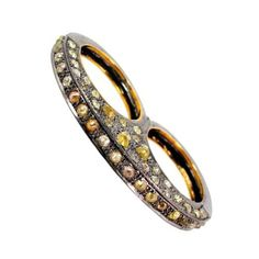 Color/Slice 6.05ct Diamond Pave 14k Gold TWO Finger Ring Sterling Silver Jewelry #Handmade