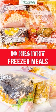 5 or 10 Healthy Freezer Meals in 2 hours with shopping list and video. No pre-cooking and then just cook from frozen in your Instant Pot or slow cooker. Chicken Freezer Meals, Freezable Meals, Slow Cooker Freezer Meals, Make Ahead Freezer Meals, Dump Meals, Healthy Slow Cooker, Freezer Cooking, Cooking Recipes, Dump Recipes