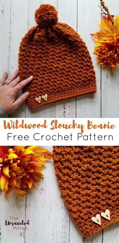 Wildwood Slouchy Beanie Free Crochet Pattern The Unraveled Mitten Crochet Slouchy Beanie Pattern, Crochet Adult Hat, Bonnet Crochet, Crocheted Hats, Knit Hats, Beanie Pattern Free, Knitting Scarves, Mittens Pattern, Crochet Headband Free
