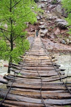 Simple suspension bridge  in the Ourika Valley in Morocco