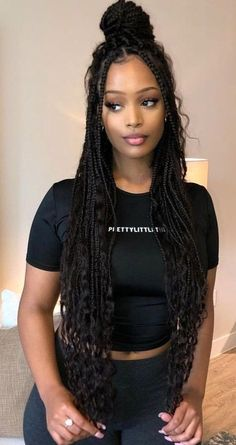 60 Totally Chic And Colorful Box Braids Hairstyles To Wear! 60 Totally Chic And Colorful Box Braids Hairstyles To Wear!,Hair Long thin box braids half up bun with curly ends African Braids Hairstyles, Girl Hairstyles, Summer Hairstyles, Cute Box Braids Hairstyles, Box Braids Hairstyles For Black Women, Faux Locs Hairstyles, Hairstyles 2018, Black Braided Hairstyles, Weave Braid Hairstyles