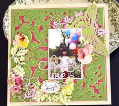 Love scrapbook page layout by Anna Griffin. Make It Now with the Cricut Explore machine in Cricut Design Space.