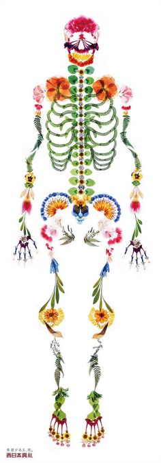 Advertisement for Death: Produced by ad agency I BBDO, the life-sized poster depicts a human skeleton recreated in colorful flower petals set on an arresting white background.