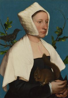 A Lady with a Squirrel and a Starling (Anne Lovell?), Hans Holbein the Younger, about 1526-28. The National Gallery
