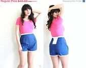 ON SALE 1960s High Waisted Shorts / 60s 50s Blue Pinup Shorts