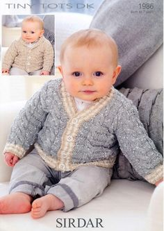 the online pattern store Baby Girl Cardigans, Knit Baby Sweaters, Baby Cardigan, Kids Knitting Patterns, Knitting For Kids, Baby Patterns, Crochet Baby, Knit Crochet, Baby Wearing