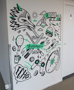 Mural at Yieldr in Amsterdam Mural Wall Art, Mural Painting, Cool Sketches, Cool Drawings, Office Mural, Cafe Wall, Rabe, Wall Drawing, School Decorations