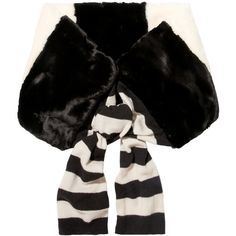 Marc Jacobs Striped faux fur and wool scarf (6.815 ARS) ❤ liked on Polyvore featuring accessories, scarves, black, wool shawl, tie scarves, marc jacobs, woolen scarves and fake fur scarves
