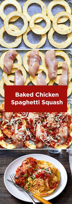 Baked Chicken Breasts with Spaghetti Squash - This complete dinner is on the table in less than 30 minutes. Via eatwell101.com