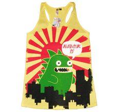 Size Small Newbreed Girl Tokyo Attack Racerback Tank Ladies Vest Emo,Kawaii,Dinosaur, funny