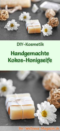Handmade Coconut Honey Soap - Soap Recipe & Instructions - DIY Soap Recipe: Handmade Coconut Honey Soap – Coconut oil moisturizes, relieves inflammation and - Diy Gifts Paper, Diy Presents, Diy Shampoo, Honey Soap, Homemade Soap Recipes, Recipe Instructions, Diy Slime, Home Made Soap, Artisanal