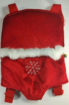 Build A Bear Workshop Christmas Red Snowflake Backpack Plush Pet Carrier  #Christmas