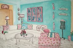I designed this Living room in a Shabby Chic Style! Shabby Chic Colors, Shabby Chic Style, Shabby Chic Living Room, My Design, Gallery Wall, Interior Design, Bedroom Ideas, Designers, Palette