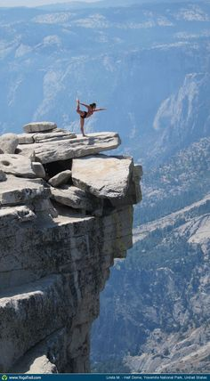 "Anywhere #Yoga Contest: ""On the top of Half Dome (Half Dome Elevation: 8,842 feet) at Yosemite National Park"" Loved and Pinned by www.downdogboutique.com to our Yoga community boards"