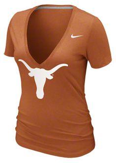 Texas Longhorns Women's Dark Orange Nike Deep V-neck Burnout T-Shirt