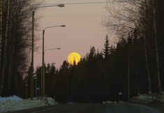 Quite early in the morning yellow ball over the route 66 , beautiful moonset. Route 66, Early Morning, Celestial, Sunset, Landscape, Yellow, Outdoor, Beautiful, Sunsets