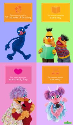Going through a tough time? Encourage your children by exchanging these free coupons! Happily dance around like Grover, create a story time similar to Bert & Ernie's, hug your family just like Elmo's doing, sing your heart out like Abby, and more! To download and for more resources: http://www.sesamestreet.org/toughtimes