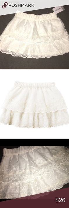 """NWT•Carter's Double Layer Scallop Edge Lace Skirt NWT • """"Carter's"""" Double Layer Lace Skirt • Scalloped Edges • Elastic Waist • Beautiful Design • Very dainty with lots of flounce and a double layer scallop edge, this skirt is a sweet way to dress up her outfits!! BRAND NEW WITH TAGS! Carter's Bottoms Skirts"""
