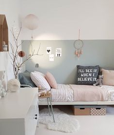Picture could include: table, bedroom and interior - Kinderzimmer - Schlafzimmer Baby Bedroom, Girls Bedroom, Bedroom Decor, Bedroom Table, Bedrooms, Kids Room Design, Living Room Interior, Coastal Interior, Modern Coastal