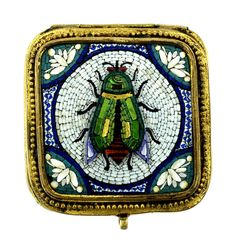 C.1900 VICTORIAN BRONZE BOX MICROMOSAIC ENAMEL FLY DECOR LID CASE