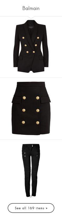 """Balmain"" by tina-teena ❤ liked on Polyvore featuring outerwear, jackets, blazers, shawl lapel blazer, double breasted wool blazer, slim fit blazer, wool blazer, blazer jacket, skirts and mini skirts"
