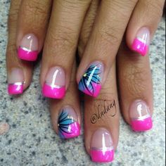 french manicure neon