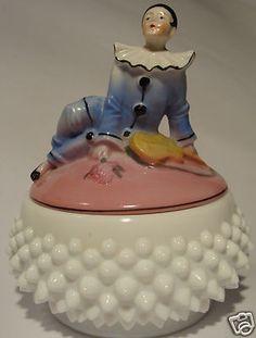 Antique German Pierrot Powder Trinket Box Pot Jar Bavaria Half Doll Rel | eBay