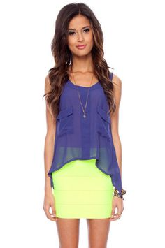 Katia Pocket Tank Top in Royal Blue $24 at www.tobi.com.  Cute, inexpensive clothes on this site, but if this chick's a small, what will I fit in?!?!