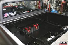 Check out the dual #OPTIMA #REDTOP batteries in the Phillips & Co. #C10R pickup that will debut at the 2014 #SEMA Show