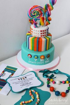 nikkiikkin dylans candy bar party cake and invitation 1
