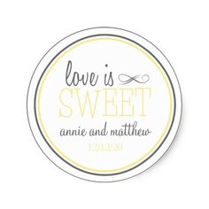 Love Is Sweet Labels (Yellow / Gray) Stickers