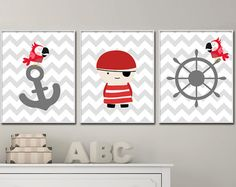 Boys Wall Print Pirates and Boat Print Baby Boy Nursery Wall Decor Print -Custom Color Unframed Navy Nursery, Nursery Wall Decor, Baby Room Decor, Nursery Prints, Nursery Art, Bedroom Decor, Pirate Nursery, Baby Prints, Baby Boy Nurseries