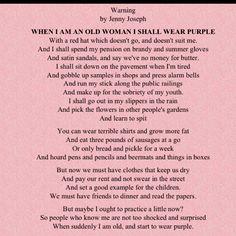 warning poem by jenny joseph analysis