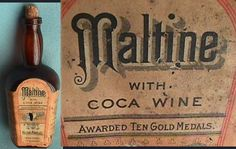 """This coca wine was made by the Maltine Manufacturing Company (New York). The dosage indicated on the back of the bottle reads: """"A wine glass full with, or immediately after, meals. Children in proportion."""" Malt extract was taken for its health-promoting effects and alcohol was considered by many to have medicinal effects. It's not surprising to see the 'virtues' of these three """"medicines"""" combined into a single product. Year unknown."""