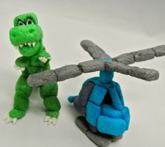 helicopter and Trex dinosaur craft made with Magic Nuudles