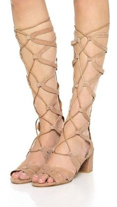Stuart Weitzman gladiator sandals > beige suede. Knee-high with back zip and covered heels. So pretty!