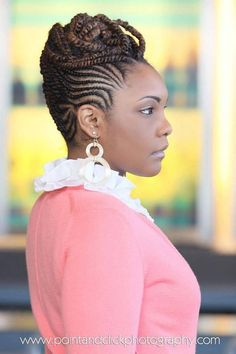 Natural Hair Braids Updo for Black Women is casual hairstyle that looks best on oval, long, diamond and heart-shaped faces.