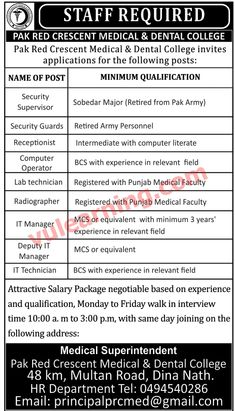 Pak Red Crescent Medical & Dental College Jobs 2018 Vacancies Advertisement Latest # Title Details 1 Jobs Location Pakistan 2 Published Date 30 Mar 2018 Friday 3 Last Date to Apply 4 Newspaper Name Nawa-e-waqt Pak Red Crescent Medical & Dental College Jobs 2018 Vacancies Advertisement Latest Vacanci...