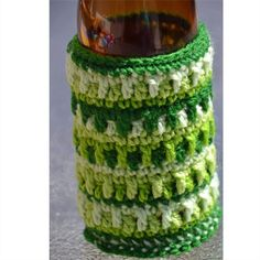 Green Crocheted Stubbie Cooler/Bottle Cosy/Koozie