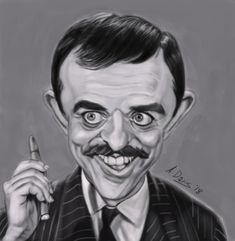 Gomez by on DeviantArt Funny Caricatures, Celebrity Caricatures, Celebrity Drawings, Cartoon Faces, Funny Faces, Cartoon Drawings, Addams Family Tv Show, Adams Family, Black And White Cartoon