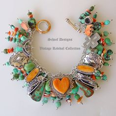 Schaef Designs turquoise and spiny oyster charm bracelet