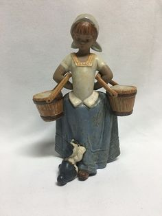 Lladro #2254 Step Aside Girl Milk Pails Dog by Feet Mint no Box Retired