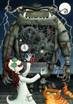 Nicola L Robinson Frankenstein illustration Mary Shelley inspired, gothic horror childrens book cat monster steampunk mad scientist character design