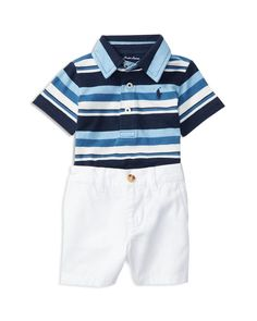 1f002053a09d18 Ralph Lauren Boys  Stripe Jersey Polo   Twill Shorts Set - Baby Kids -  Bloomingdale s