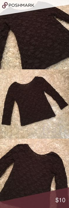 🎃🎃Unique dark brown long sleeve top! Very unique design dark brown long sleeve casual top. Has a light brown soft silk inner lining.  Size small petite. G wheels Tops