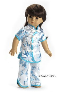 "Bamboo Chinese Pajamas fit 18"" American Girl Dolls, Chinese New Year Sale #FitsAmericanGirlDolls #DollClothingAccessories"