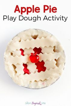 This apple pie play dough activity is perfect for fall and a great way to develop fine motor skills! You'll love this apple pie scented play dough recipe!