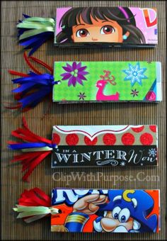 Easy to Make Scripture Bookmarks from recycled cereal boxes, and covers from stickers books, scrapbook papers and trade magazines!