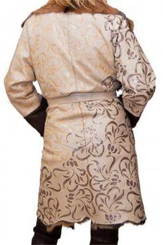 Пальто дубленочный мех с росписью в авторской технике