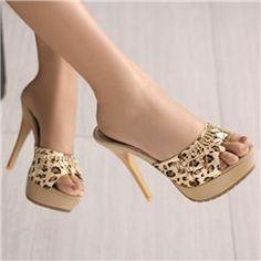 Sexy Fashion Stiletto Heels Peep Toe Beige Leopard Shinning Upper Sandal